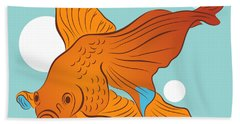 Goldfish And Bubbles Graphic Beach Towel
