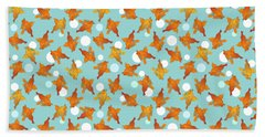 Goldfish And Bubbles Pattern Beach Sheet
