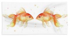 Goldfish Love Watercolor Beach Towel