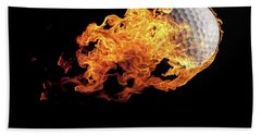 Golf Ball With Flames On Black Beach Towel