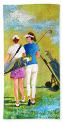 Golf Buddies #1 Beach Sheet by Betty M M Wong