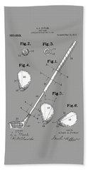 Golf Club Patent Drawing Grey Beach Towel