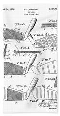 Golf Club Patent Drawing White 3 Beach Towel