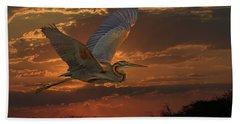 Goliath Heron At Sunset Beach Towel