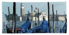 Beach Towel featuring the digital art Gondolas Across San Giorgio by Donna Corless