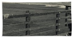 Gone Fishing In Black And White Beach Towel
