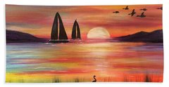 Beach Sheet featuring the painting Good Eveving by Denise Tomasura