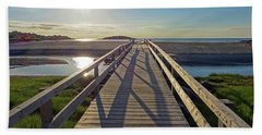 Good Harbor Beach Footbridge Sunny Shadow Beach Towel