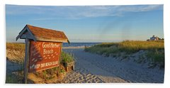 Good Harbor Sign At Sunset Beach Towel