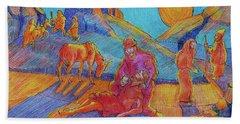 Good Samaritan Parable Painting Bertram Poole Beach Towel by Thomas Bertram POOLE