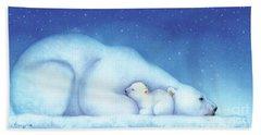 Arctic Bears, Goodnight Nanook Beach Sheet by Tracy Herrmann