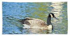 Beach Towel featuring the photograph Goose And Sun Reflections by David Lawson