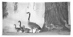 Goose Family  Beach Towel by Clarice Lakota