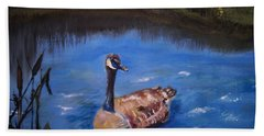 Beach Towel featuring the painting Goose by Leslie Allen