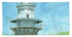 Beach Towel featuring the painting Goose Rocks Light At High Tide by Dominic White