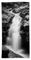 Gorge Waterfall In Black And White Beach Towel