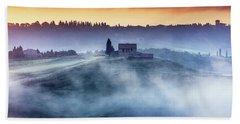 Gorgeous Tuscany Landcape At Sunrise Beach Towel