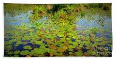 Gorham Pond Lily Pads Beach Sheet by Susan Lafleur