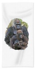 Gorilla Family Portrait Beach Towel
