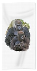 Gorilla Family Portrait Beach Sheet