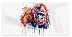 Beach Towel featuring the mixed media Gorilla by Marian Voicu