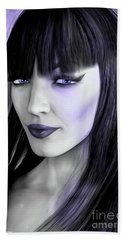 Goth Portrait Purple Beach Towel
