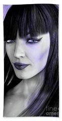 Goth Portrait Purple Beach Towel