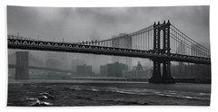 Manhattan Bridge In A Storm Beach Towel