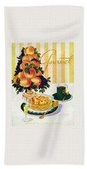 Gourmet Cover Featuring A Centerpiece Of Peaches Beach Towel