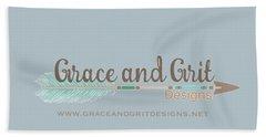 Grace And Grit Logo Beach Sheet by Elizabeth Taylor