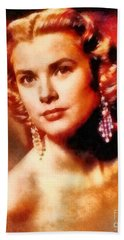Grace Kelly, Vintage Hollywood Actress Beach Towel by Frank Falcon