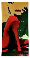 Grace With Red High Heels Beach Sheet