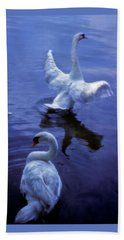 Graceful Swans Beach Sheet by Marie Hicks