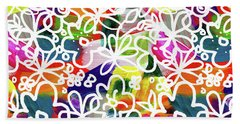 Beach Towel featuring the mixed media Graffiti Garden 2- Art By Linda Woods by Linda Woods