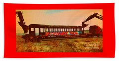 Beach Sheet featuring the photograph Graffiti Laden Rusted Out Saltair Train Car Scrapped February 18 2012 by Richard W Linford