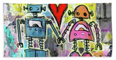 Graffiti Pop Robot Love Beach Towel