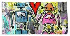 Graffiti Pop Robot Love Beach Towel by Roseanne Jones