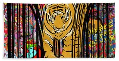 Graffiti Tiger Beach Towel by Sassan Filsoof