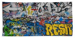 Grafitti On The U2 Wall, Windmill Lane Beach Sheet by Panoramic Images