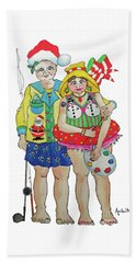 Beach Towel featuring the painting Gram - Cracker And Papa by Rosemary Aubut