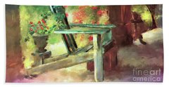 Beach Towel featuring the digital art Gramma's Front Porch by Lois Bryan