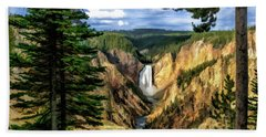 Beach Towel featuring the painting Grand Canyon Of The Yellowstone Waterfall by Christopher Arndt