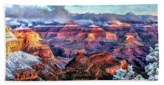 Beach Towel featuring the painting Grand Canyon Snow by Christopher Arndt