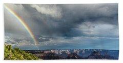 Grand Canyon Stormy Double Rainbow Beach Towel