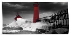 Grand Haven Lighthouse In A Rain Storm Beach Towel