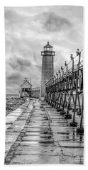 Grand Haven Lighthouse - Monochome Beach Towel