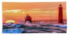 Beach Towel featuring the painting Grand Haven Lighthouses by Christopher Arndt