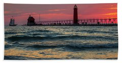 Grand Haven Pier Sail Beach Towel