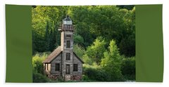 Grand Island Light House In Spring Beach Towel
