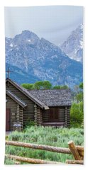 Grand Teton Church Beach Towel by Dawn Romine
